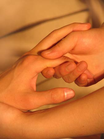 Tantra massage touch the fingers